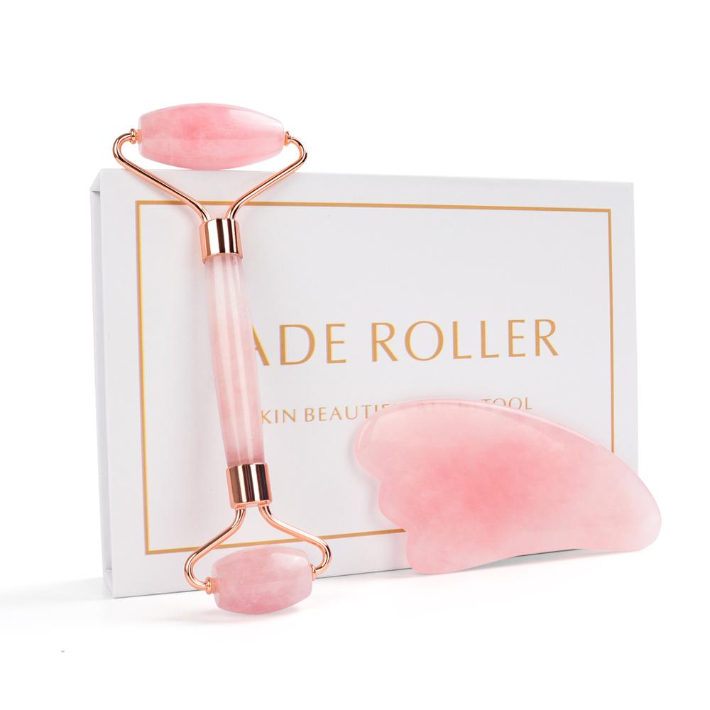 Noiseless Rose Quartz Roller Slimming Face Massager Lifting Natural Jade Facial Massage Roller Stone Skin Massage Tool Girl Gift