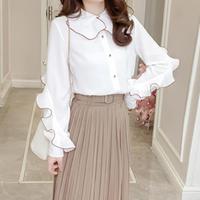 2018 Spring White Elegant Blouses Peter Pan Collar Ruffles Long Sleeve Temperament OL Camis Tops Work