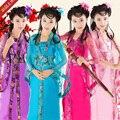 2016 hot red estilo Chinês traje tradicional qipao vestido de crianças vestido da menina vestido de festa de aniversário da menina roupas desempenho
