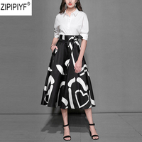 New 2018 Designer Runway Suits Set Women's Half Sleeve Turn down Collar Solid Blouse & Vintage Mid Calf Skirt 2 Piece Set C1241