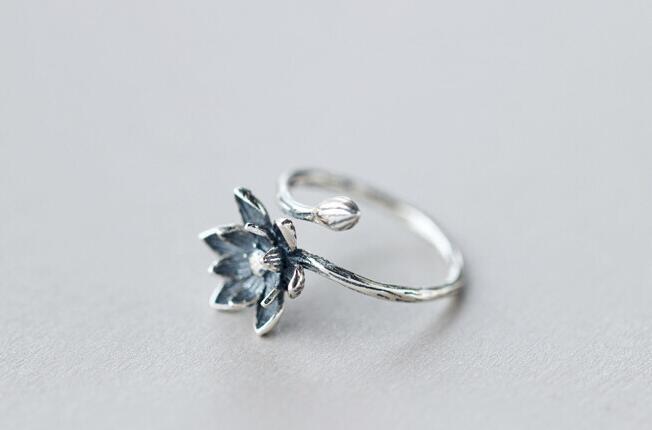 Anneaux ouverts en argent plaqué fleur de Lotus pour femmes, bijoux de Style rétro