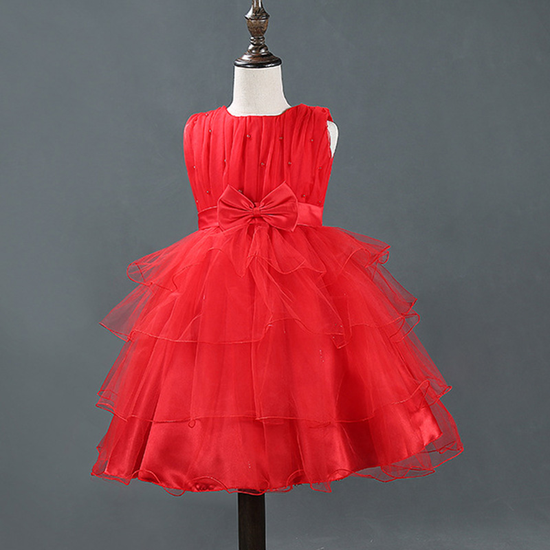 2017 New Summer Girls Layered Tulle Beaded Flowers Lolita Style Sleeveless Dress Children Bow Belt  Princess  Party Dress 2 8y korea style cute bow belt sleeveless round collar assorted color performing dress layered dress girl evening dress