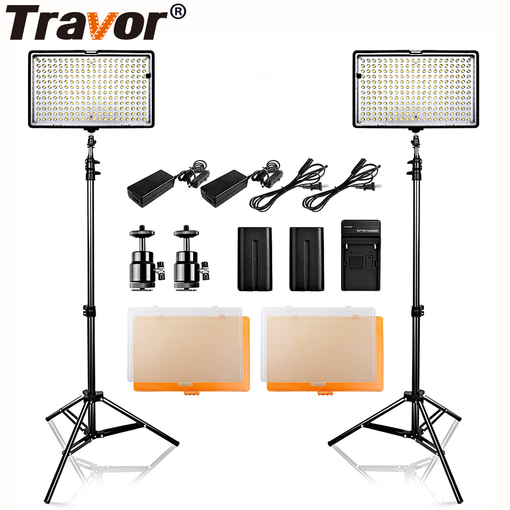 Travor 2 in 1 LED Video Light 240 PCS Dimmable Bi-color Photography Lighting Studio Smooth Light Standing Lamps Kit With Tripod travor 2 in 1 photography 160 led studio lighting kit dimmable ultra high power panel digital camera dslr camcorder led light
