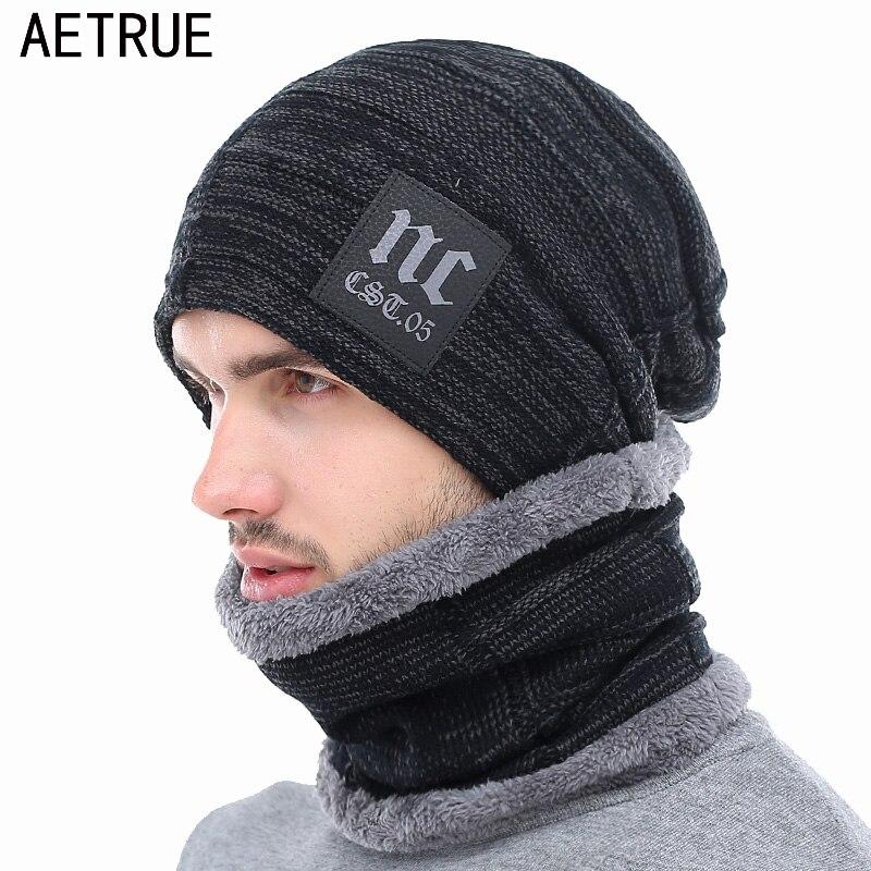 152ad5c4446a AETRUE Hiver Tricoté Chapeau Bonnets Hommes Femmes Écharpe Caps Masque  Gorras Bonnet Chaud Baggy Chapeaux D