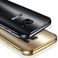 Caixa de metal ultra slim para samsung galaxy s7/s7 edge/s6/S6 Borda/Borda Mais Luxo de Alumínio Acrílico Rígido Capa Protetora