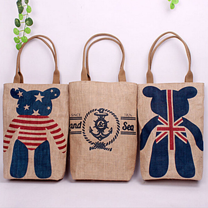 Classic linen Storage shopping Bag women organizer fashion Europe America style square sundries mall Container S26 free shipping