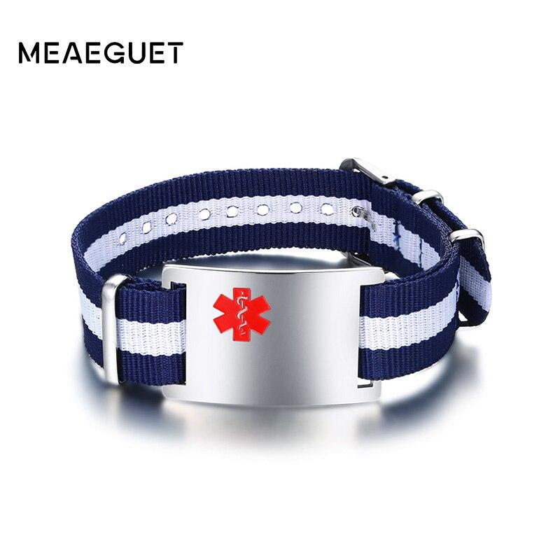 Meaeguet Livraison Gravure Bracelet Médical Bracelets & Bracelets ID Bijoux pour Femmes Hommes Acier Inoxydable Bracelet Pas D'allergie