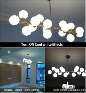 Image 5 - Modern Glass Balls Pendant Lamp Light Luxury Branch Chandelier Magic Bean LED Lighting Fixture Living Room Home Decoration
