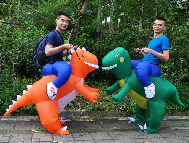 Dragon T-Rex Dino Rider Suit Purim Halloween Costumes for Adult Kids Christmas Party Fancy Dress Inflatable Dinosaur Costume