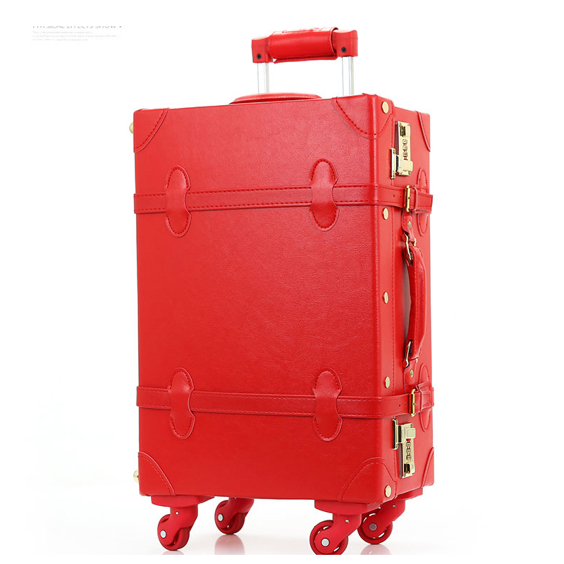 12 20 22 24retro pu leather bride luggage on universal wheels,high quality vintage trolley luggage for bride,retro boxes