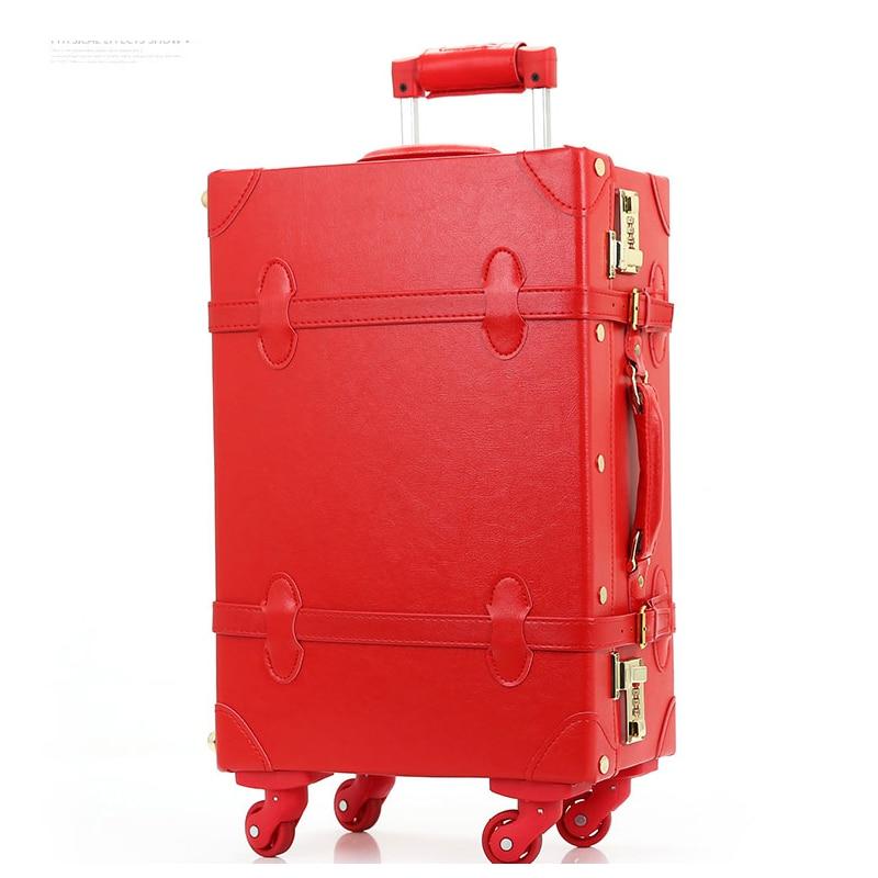 """12 """"20"""" 22 """"24"""" Equipaje de novia retro de cuero de pu en ruedas universales, maletas con trolley vintage de alta calidad para novia, cajas retro"""