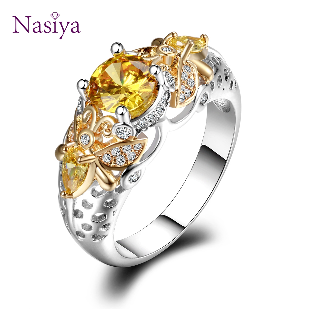 HTB1NyzvXUjrK1RkHFNRq6ySvpXaH Yellow Citrine Animal Bee Finger Rings For Women Men With Zircon 925 Silver Jewelry Engagement Party Anniversary Gifts Size 6-10