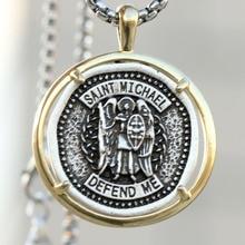 Catholic Saint Michael Necklace Retro Medal Archangel Patron Protect Me Pendant Russian Orthodox Dropship