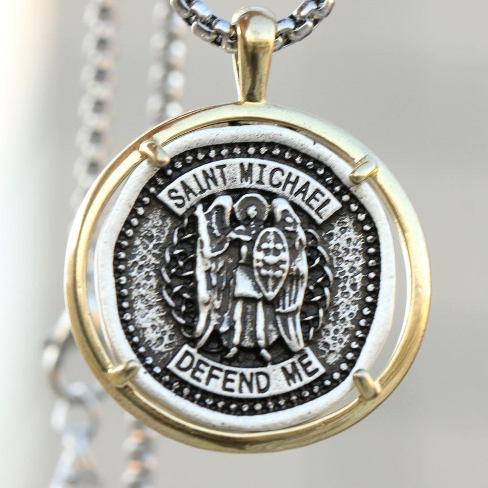 St Dimitri Of Rostov Religious Round Medal Silver Tone Pendant with Rhinestones