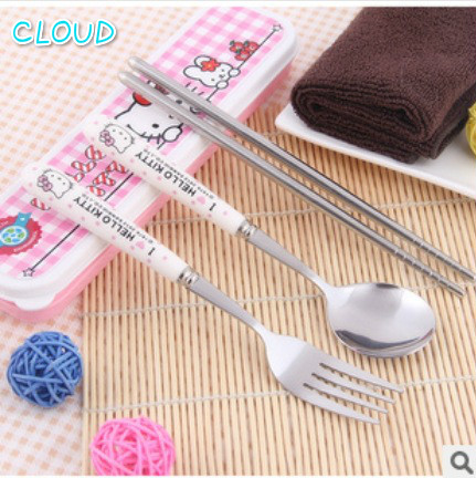 Children's Tableware Set Hello Kitty Kitchen Dinner Set Portable Stainless Steel Cutlery Sets Quality Assurance A Set Of Three