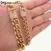 10 14mm Cuban Miami Link Bracelets Stainless Steel Rhinestone Clasp Iced Out Gold Silver Hip Hop