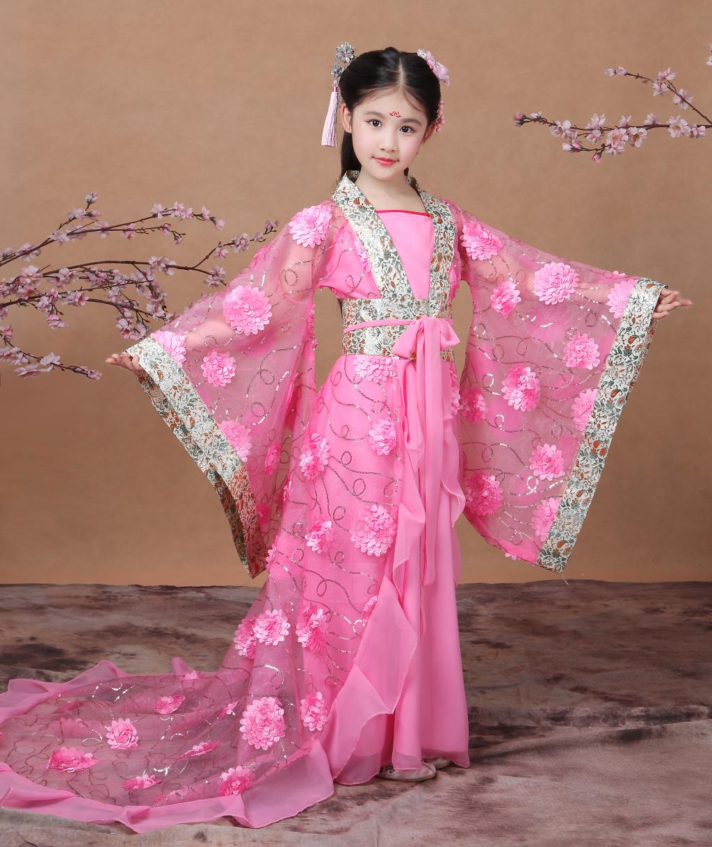 2018 summer pink chinese ancient traditional girls hanfu clothing cosplay party dresses tang dynasty costumes for summer dresses styles chinese cheongsams for girls traditional chinese dress for children tang suit baby costumes