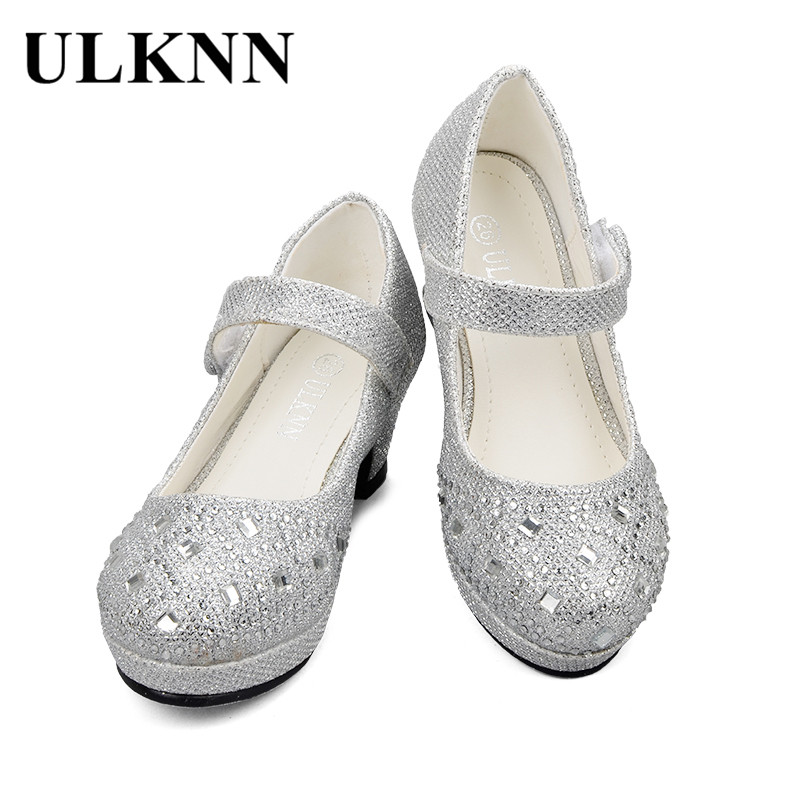 ULKNN Kids Shoes For Girls Princess Party Wedding Shoes Children High Heel Glitter Crystal Sandals Soft School Shoe Summer 2018