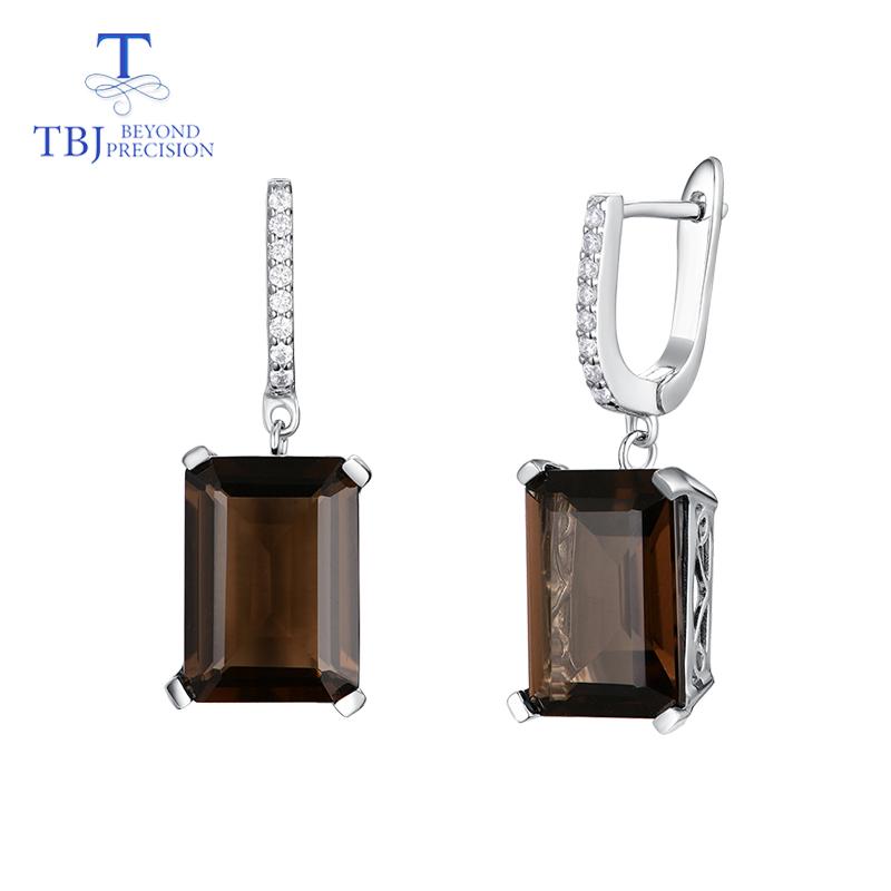 TBJ Natural emerald cut 15ct smoky quartz clasp earring simple elegant design 925 sterling silver jewelry