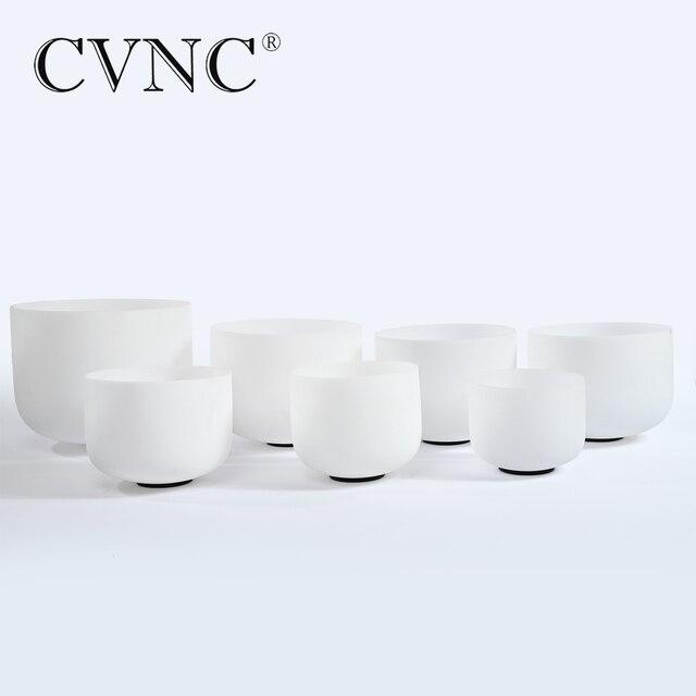 """CVNC 6 """"-12"""" nota CDEFGAB conjunto de 7 piezas Chakra esmerilado de cristal de cuarzo cuenco"""