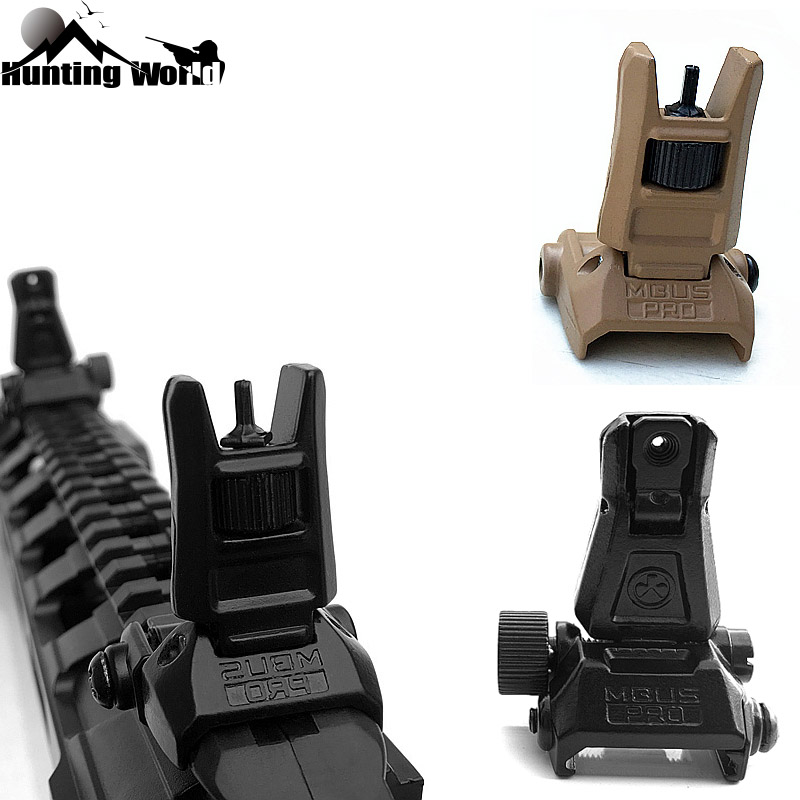 Tactical MBUS Flip Up Front Rear Iron Sight Set Folding Backup Quick Detach Rapid Transition For Airsoft  Hunitng Caza