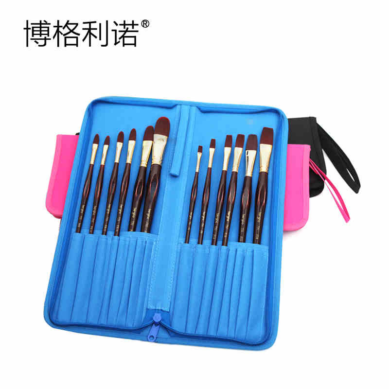3 Colors Oxford Fabric Brush Holder 16 Slots Zipper Makeup Brush Pen Pencil Case Sketch Pencil Bag Pouch Stationery Holder Bag big capacity high quality canvas shark double layers pen pencil holder makeup case bag for school student with combination coded lock