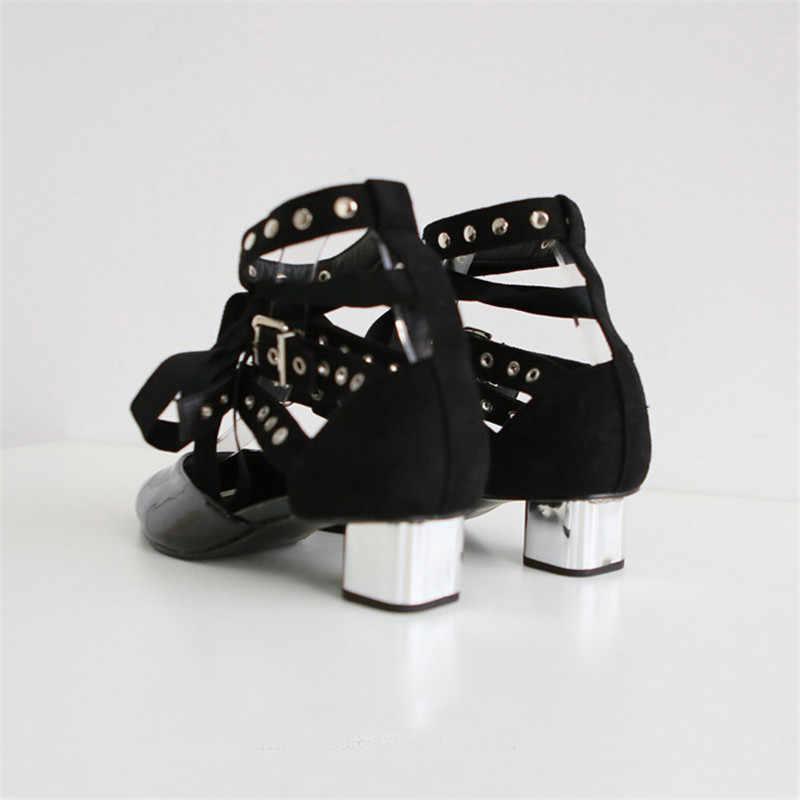 Punk Metal Topuklu Sandalet Botlar Kadın Sivri Burun Perçinler Çivili Strappy Yüksek Topuklu 2019 Toka Dekor Siyah Beyaz Gladyatör Sandalet