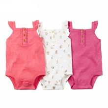 Brandwen Marque Bébé Vêtements D'été Bébé Garçon Fille Combinaisons Coton petit Vol Manches Nouveau-Né 3 pcs/ensemble Nouveau-Né Bébé 0-24 M