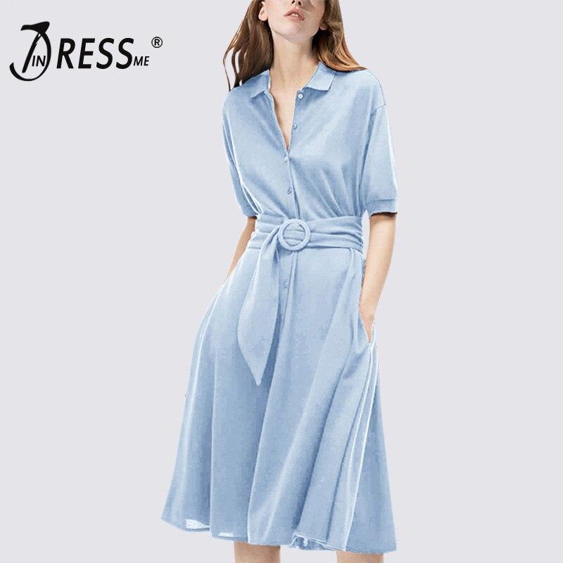 a68498da231 INDRESSME Для женщин модные повседневные платья и пуговицы до середины икры  узкие рукава до локтя платье для леди Vestidos 20188