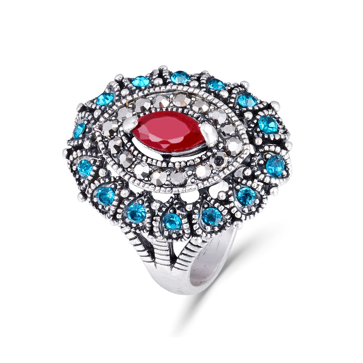 Big Colored Crystal Wedding Band Ring For women