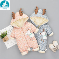 Newborn Baby jumpsuit boy rompers girl Cotton One piece Thick Hooded Warm Autumn Winter Clothes Romper Animal Style Cartoon fawn