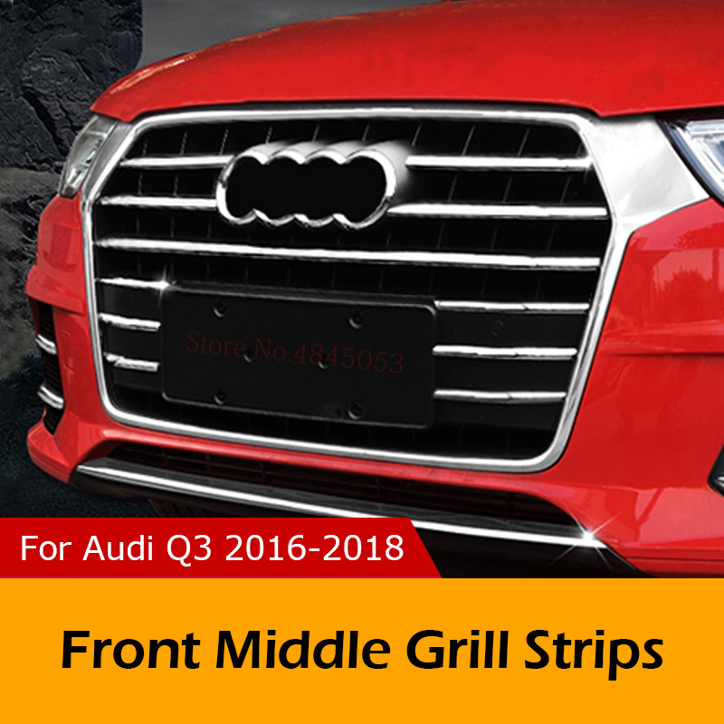 For Audi Q3 2016-2018 ABS Chrome Exterior Front Middle Grill Trim Strips Grille Streamer Fog Lamp Light Strips Car Styling 14PcsFor Audi Q3 2016-2018 ABS Chrome Exterior Front Middle Grill Trim Strips Grille Streamer Fog Lamp Light Strips Car Styling 14Pcs