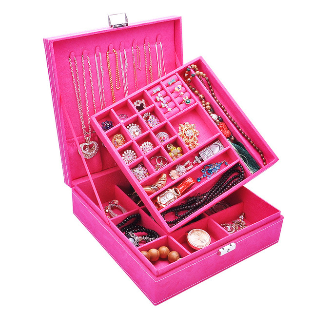 Fashion Flannel Square Jewelry Box Simple layout 2 Layers Makeup Organizer choker Ring necklace Storage 2