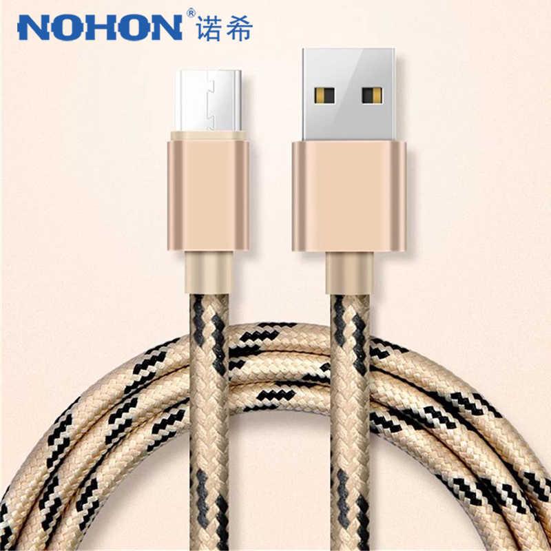 NOHON النايلون شحن كابل بيانات المصغّر usb لسامسونج غالاكسي S7 S6 لهواوي Xiaomi Redmi 4 LG الروبوت الهاتف شاحن سريع الحبل