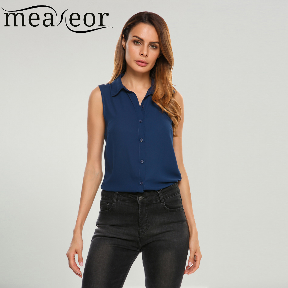 Meaneor women chiffon sleeveless blouse shirt solid casual for Womens button down shirts fitted