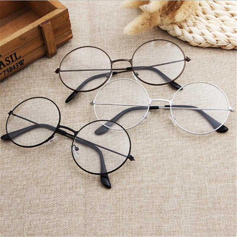 Retro Large Round Glasses Oversized Metal Frame Clear Lens Round Circle EyeGlasses Women Men Eye Glasses 3 Colors