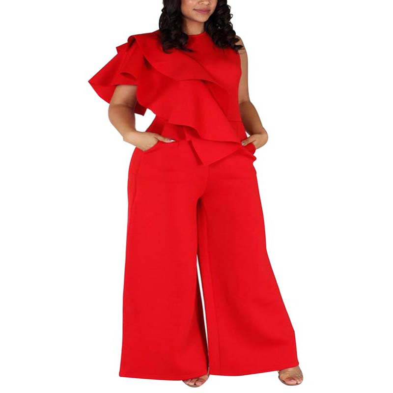 African Clothes Plus Size 5XL Elegant Ruffle Jumpsuit Women Sleeveless Solid Red Loose Wide Leg Pants Rompsuit Bodycon L-5XL