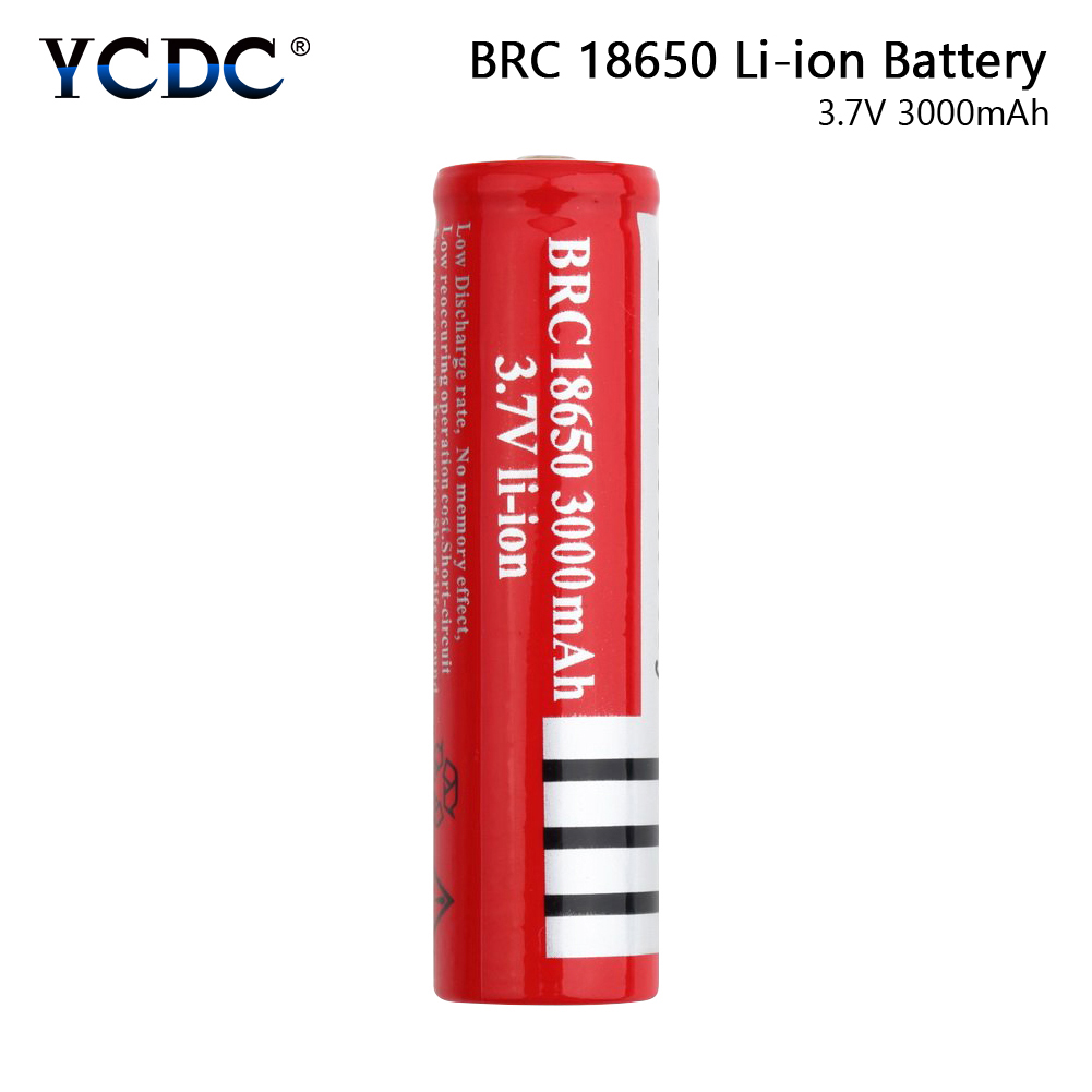YCDC 1/2/4/6/8pcs Red <font><b>3.7</b></font> <font><b>V</b></font> Volt <font><b>3000mah</b></font> BRC 18650 Rechargeable Battery Li-ion Lithium Battery For Laser Pointer Toy Flashlight image