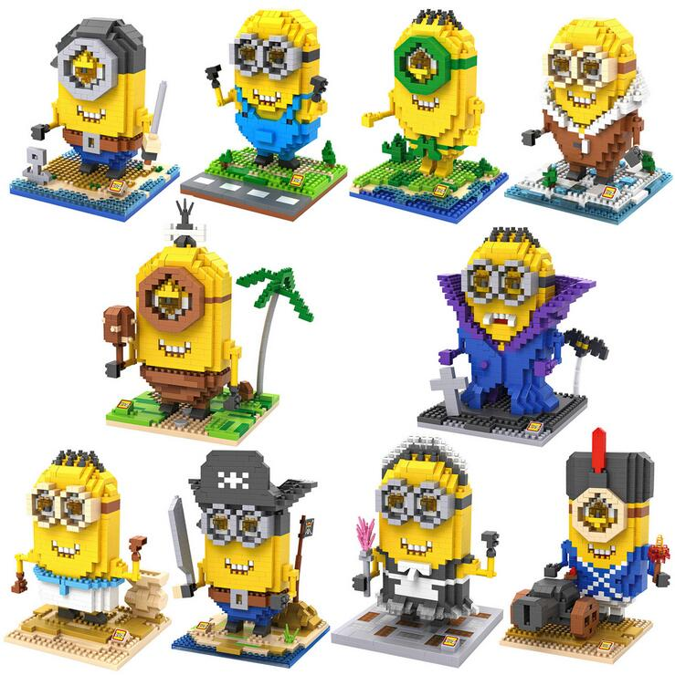 LOZ Small Blocks Minion DIY Building Bricks Cartoon Auction Anime Figure Pegman Model Toy Education Juguetes Kids Toys 9607-9616 loz small plastic bricks minion micro blocks cartoon diy building toys pegman auction figures toy kids gifts 1201 1208