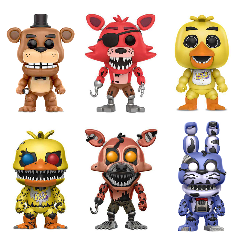 Five Nights At Freddy's Toys PVC 10PCS Action Figures Nightmare Bear Dolls Vinyl FNAF Chica Bonnie Foxy Freddy Fazbear Puppet