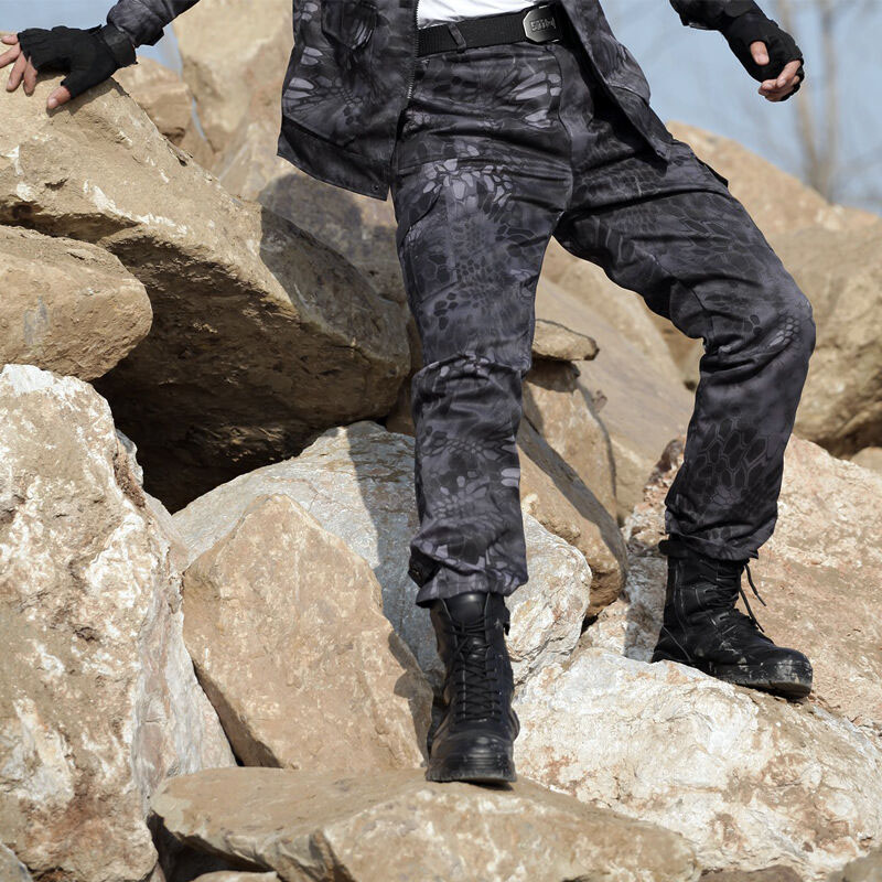 Military Tactical Pants Camouflage Black Python Pattern Hunting Pants  Working Hiking Sports Pants Army Combat Training Pants