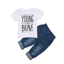 ae1d6847a Moda Niño recién nacido Niño Bebé Ropa manga corta Camiseta blanca Camisas camiseta  Tops + Denim Pantalones Vaqueros trajes Set