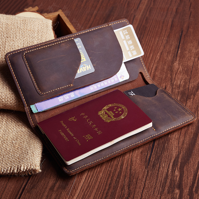 Crazy Horse Leather Wallet Men and Women Card Holder Retro Cow Leather Passport Cover Sets of Documents Name Card Bag Wholesale love and clouds two kinds of styles passport cover passport holder luggage tag silicone strap three pieces