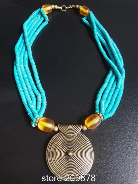 TNL237 New Arrival! 2014 Spring Fashion,Tibetan Nepal Big Golden Brass Sprial Pendant Necklace,Tibet Red Ox bone bead necklace new design sprial cymbal 14cymbal