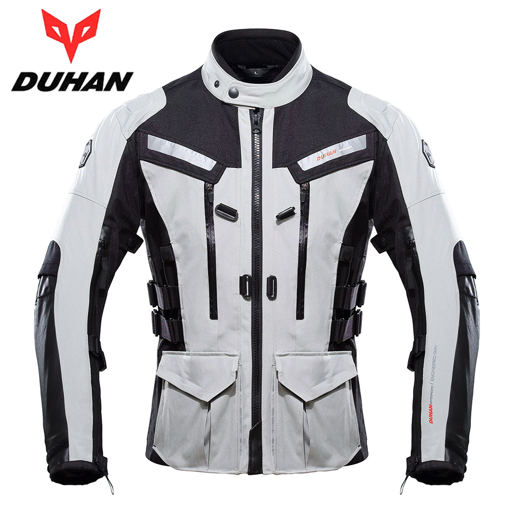DUHAN Motorcycle Jacket Men Touring Travel Riding Waterproof Motocross Off-Road Racing Raincoat and Protective Gear Moto Jacket riding tribe men motocross off road racing jacket motorcycle windproof waterproof riding travel clothing with 5 protective gear