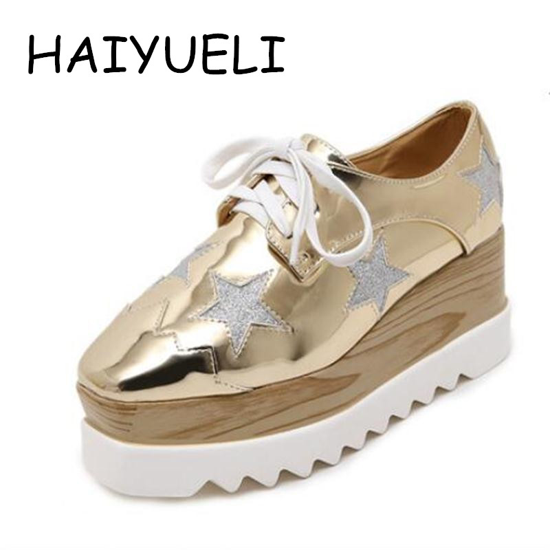 HAIYUELI Women Platform Shoes Oxfords Brogue Patent Leather Flats Lace Up Shoes Vintage Luxury Light soles Casual Shoes Golden women brogue shoes lace up oxfords for women black white platform shoes woman beading thick bottom pu leather flats plus size 43