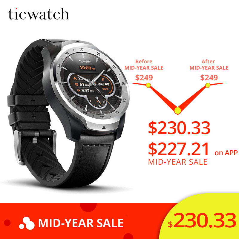 Ticwatch Pro montre intelligente Bluetooth V4.2 415 mAH 2-30 jours d'autonomie IP68 étanche GPS NFC paiements/Google Assistant sport