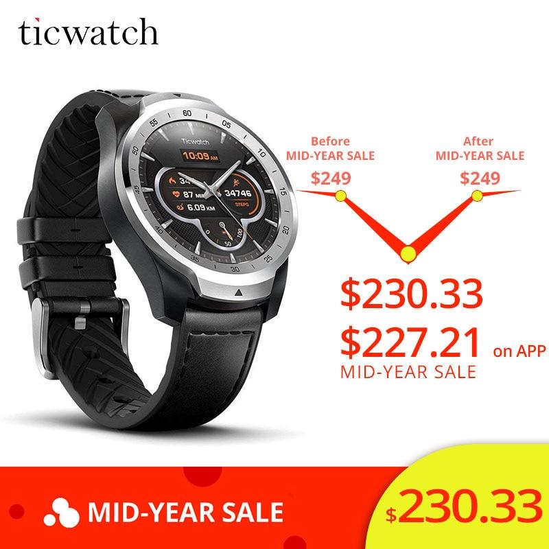 Ticwatch Pro montre intelligente Bluetooth V4.2 415 mAH 2-30 jours d'autonomie IP68 étanche GPS NFC paiements/Google Assistant sport