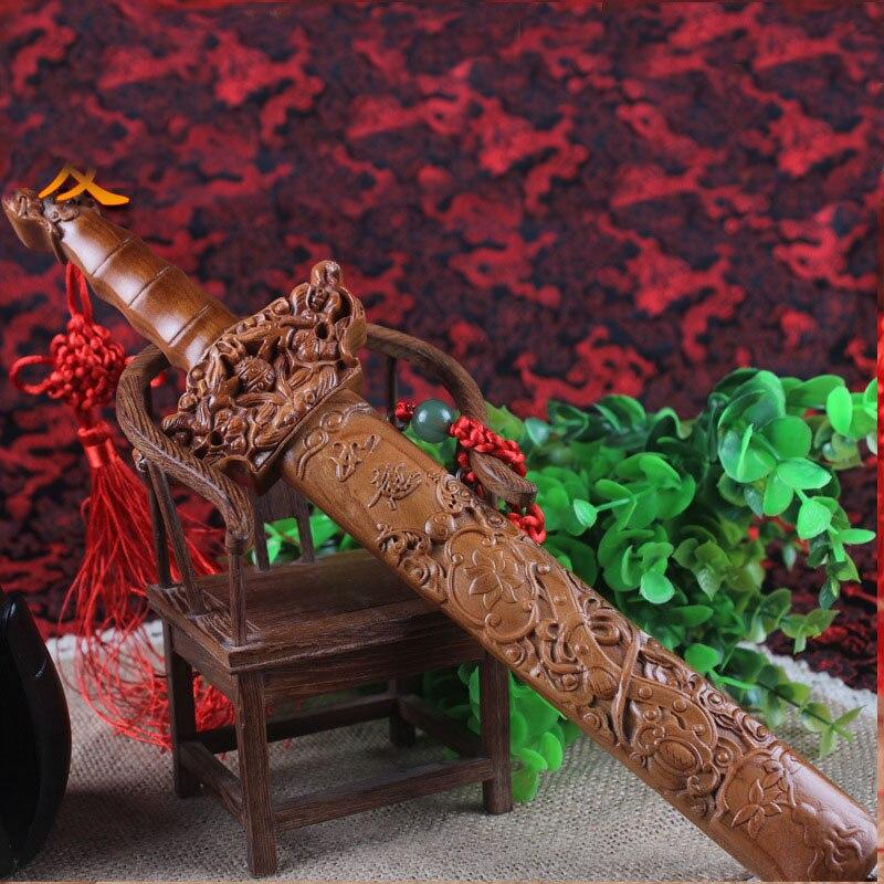 30CM Chinese Style Pattern Sculpture Katana Sword Original Wood