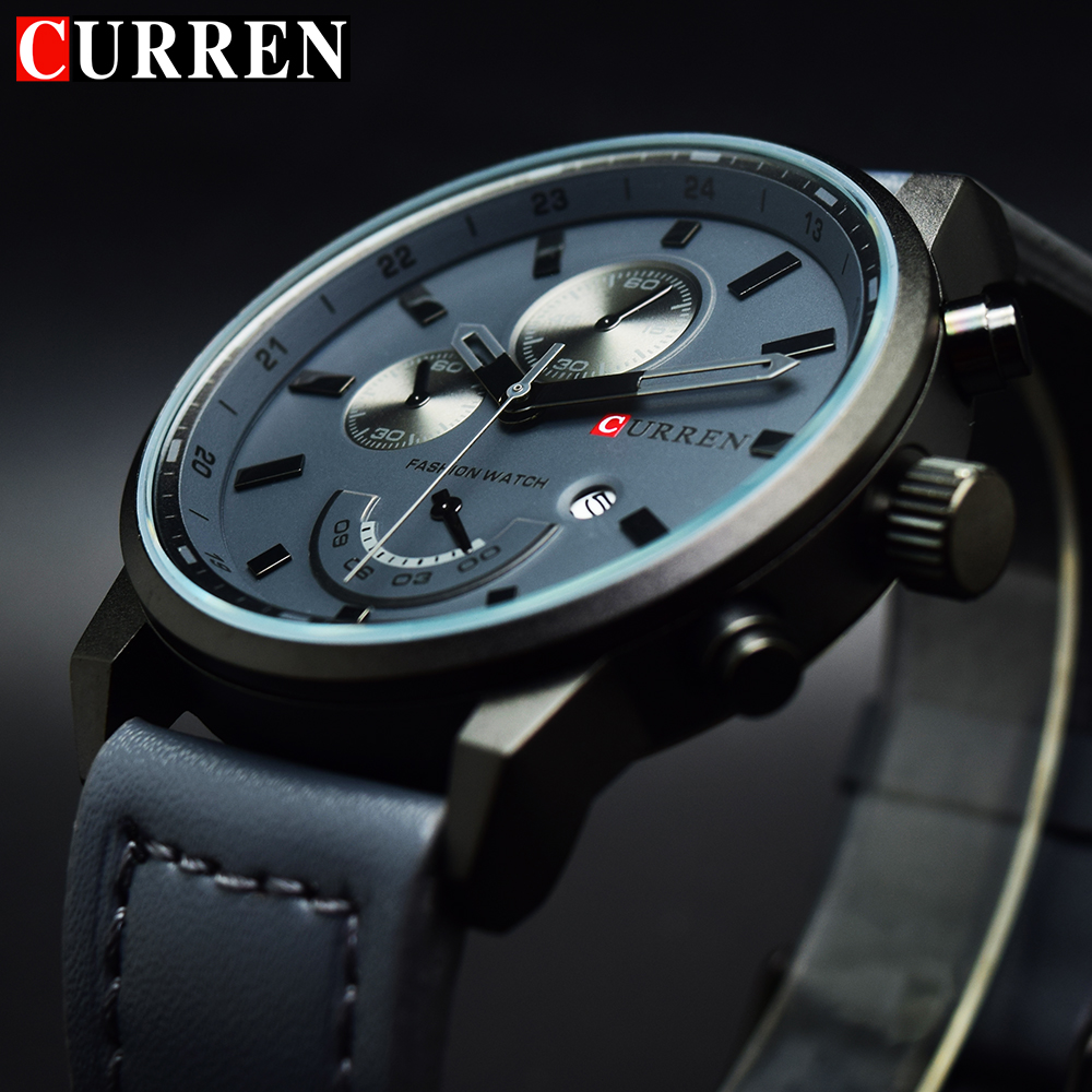 Curren Quartz Watch Men 2018 Top Brand Luxury Leather Grey Mens Clock Male Sport Watch Men Military Men's Wrist Watch Luxury все цены
